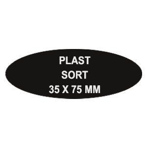 Sort plast Reversskilt med nål. (75x35 mm)