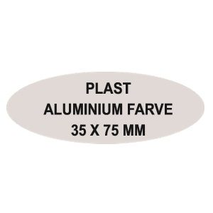 Oval aluminiums farvet plast Reversskilt med nål. (75x35 mm)