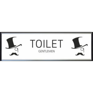 Toilet skilt gentlemen hvid højglans alu