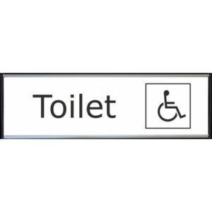 Toilet skilt handicap toilet hvid højglans alu